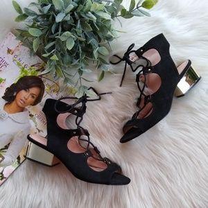 Topshop • black suede lace-up gold heel sandals